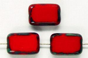 Best.Nr.:67110 Glasperlen / Table Cut Beads rote Rechtecke geschliffen, mit Travertin-Veredelung