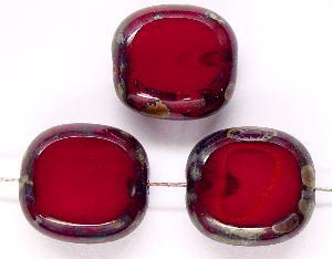 Best.Nr.:67671 Glasperlen / Table Cut Beads Olive geschliffen / rot mit Travertin-Veredelung