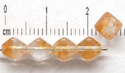 Best.Nr.:54034 Glasperlen Doppelpyramide vierkantig kristall braun meliert