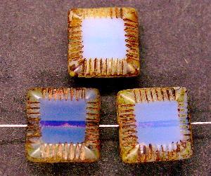 Best.Nr.:67590 Glasperlen / Table Cut Beads geschliffen Opalglas blassflieder mit picasso finish,  hergestellt in Gablonz / Tschechien