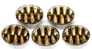 Best.Nr.:59198 Antikstyle Glasperlen, nach alten Vorlagen aus den 1930/40 Jahren neu gefertigt rauch mit Goldauflage