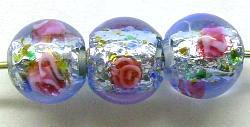 Best.Nr.:45-3384 handgefertigte Lampenperle mit eingearbeiteter Silberfolie aus den Böhmischen Glashütten