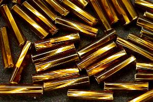 Best.Nr.:21120 Glasstifte getwistet topas mit Silbereinzug, von Ornella Preciosa Tschechien hergestellt