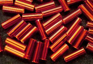 Best.Nr.:21073 Stiftperlen hergestellt von Preciosa Ornella Tschechien,  orange mit Silbereinzug