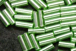 Best.Nr.:21080 Schtiftperlen hergestellt von Preciosa Ornella Tschechien, hellgrün mit Silbereinzug