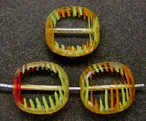 Best.Nr.:67647 Glasperlen / Table Cut Beads Olive geschliffen mit Travertin-Veredelung