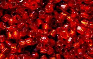 Best.Nr.:18016 3-Cutbeads von Ornella Preciosa Tschechien rot mit Silbereinzug