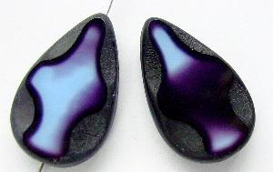 Best.Nr.:67702 Glasperle / Table Cut Beads geschliffen Tropfenform Rand mattiert (frostet)