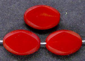 Best.Nr.:67745 Glasperlen / Table Cut Beads Olive geschliffen rot, Rand mattiert