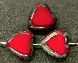 Best.Nr.:67084 Glasperlen / Table Cut Beads Herzen geschliffen  mit Travertin-Veredelung