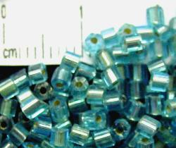 Best.Nr.:63067 Glasperlen in den 1920/30 Jahren in Gablonz/Böhmen hergestellt türkis mit Silbereinzug