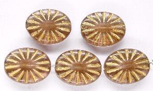 Best.Nr.:59166 Antikstyle Glasperlen, leicht mattiert mit Goldauflage