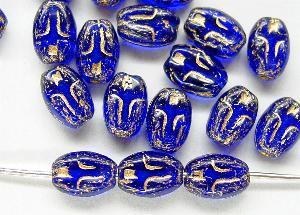 Best.Nr.:46240 Vintagestyle Glasperlen blau transp. mit Goldauflage,  eingeprägte stilisierte Darsellung