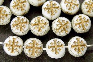 Best.Nr.:47105 Glasperlen Scheibe mit eingeprägtem Kreuz und Goldauflage, hergestellt in Gablonz / Tschechien