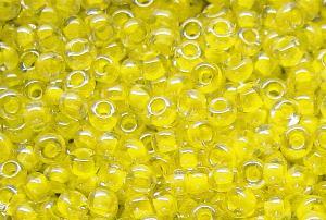 Best.Nr.:12131 Rocailles kristall mit Farbeinzug gelb/schimmernd (lüster)