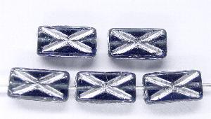 Best.Nr.:49262 Glasperlen Rechtecke taubenblau mit Silberauflage