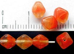 Best.Nr.:54010 Glasperlen Doppelpyramide vierkantig kristall orangerot