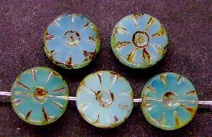 Best.Nr.:67735 Glasperlen / Table Cut Beads Opalglas geschliffen mit picasso finish nach alten Vorlagen aus den 1920 Jahren neu gefertigt