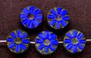Best.Nr.:67722 Glasperlen / Table Cut Beads Perlettglas geschliffen mit picasso finish, nach alten Vorlagen aus den 1920 Jahren neu gefertigt