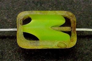 Best.Nr.:671051 Glasperlen / Table Cut Beads geschliffen, kristall hellgrün mit picasso finish