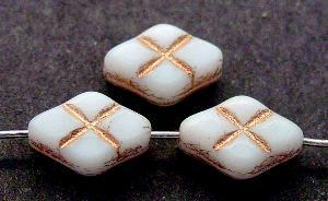 Best.Nr.:59214 Glasperlen / Table Cut Beads geschliffen weiß mit Goldauflage Rand mattiert (frostet), hergestellt in Gablonz / Tschechien