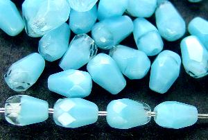 Best.Nr.:26391 facettierte Glasperlen Tropfen türkis kristall Perlettglas