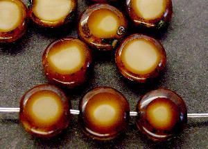 Best.Nr.:67444 Glasperlen / Table Cut Beads geschliffen mit Travertin-Veredelung