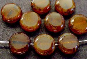 Best.Nr.:67413 Glasperlen / Table Cut Beads geschliffen mit Travertin-Veredelung