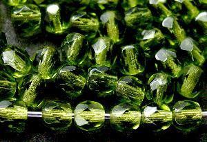 Best.Nr.:27490 facettierte Glasperlen oliv transp.,  hergestellt in Gablonz / Tschechien