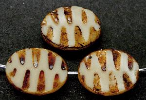 Best.Nr.:67133 Glasperlen / Table Cut Beads geschliffen mit Travertin-Veredelung, nach alten Vorlagen aus den 1930/40 Jahren neu gefertigt