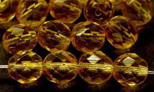 Best.Nr.:s-0020 facettierte Glasperlen honiggelb transp., hergestellt in Gablonz / Tschechien