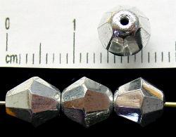 Best.Nr.:28248 facettierte Glasperlen  silberfarben, hergestellt in Gablonz / Tschechien