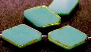 Best.Nr.:67632 Glasperlen / Table Cut Beads geschliffen Hergestellt in Gablonz / Böhmen, hellblau opak mit picasso finishg