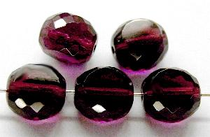 Best.Nr.:67648 Glasperlen / Table Cut Beads geschliffen, Rand mit Facettenschliff fuchsia