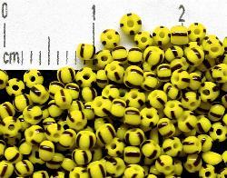 Best.Nr.:13033 Rocailles aus Gablonz / Böhmen  gelb schwarz gestreift