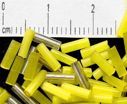 Best.Nr.:63100 Glasperlen in den 1920/30 Jahren in Gablonz/Böhmen hergestellt Mix gelb satin und Silbereinzug