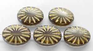 Best.Nr.:59188 vintage style Glasperlen , nach alten Vorlagen aus den 1930 Jahren neu gefertigt rauch mit eingeprägtem Sonnensymbol und Goldauflage