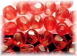 Best.Nr.:24082 facettierte Glasperlen kräftiges rose transp.,  hergestellt in Gablonz Tschechien