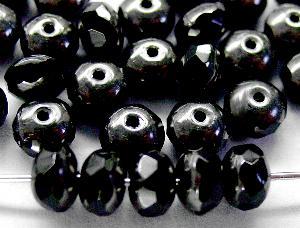 Best.Nr.:26397 Glasperlen Linse schwarz mit Antiksilber Veredelung und facettiertem Rand