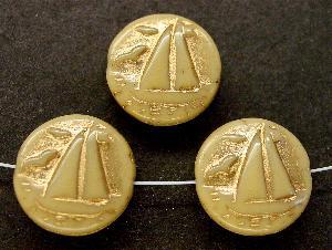 Best.Nr.:59046 Vintagestyle Glasperlen beige opak mit Goldauflage, nach alten Vorlagen aus den 1940/50 Jahren neu gefertigt in Gablonz / Tschechien