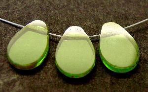 Best.Nr.:67828 Glasperlen / Table Cut Beads geschliffen Rand mit Travertin-Veredelung