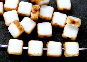 Best.Nr.:67837 Glasperlen / Table Cut Beads geschliffen mit Travertin-Veredelung