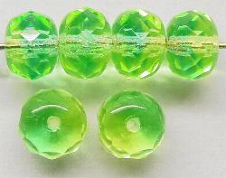 Best.Nr.:27064 Linse grün (Zweifarbenglas) mit facettiertem Rand