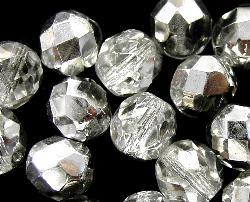 Best.Nr.:28263 facettierte Glasperlen  kristall mit Silber finish, hergestellt in Gablonz / Tschechien