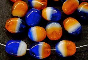 Best.Nr.:41035 Glasperlen Olive flach orange weiß blau