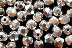 Best.Nr.:28262 facettierte Glasperlen  silberfarben, hergestellt in Gablonz / Tschechien