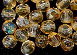 Best.Nr.:23044 facettierte Glasperlen  hellbraun transp. mit lüster, hergestellt in Gablonz / Tschechien