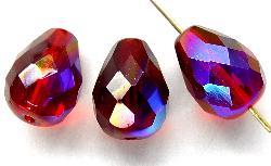 Best.Nr.:28269  facettierte Glasperlen  granatrot mit AB, hergestellt in Gablonz / Tschechien