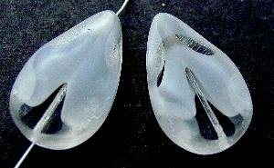 Best.Nr.:67859 Glasperle / Table Cut Beads geschliffen Tropfenform Rand mattiert (frostet)