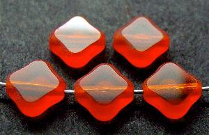Best.Nr.:67880 Glasperlen / Table Cut Beads geschliffen orange Rand mattiert (frostet)